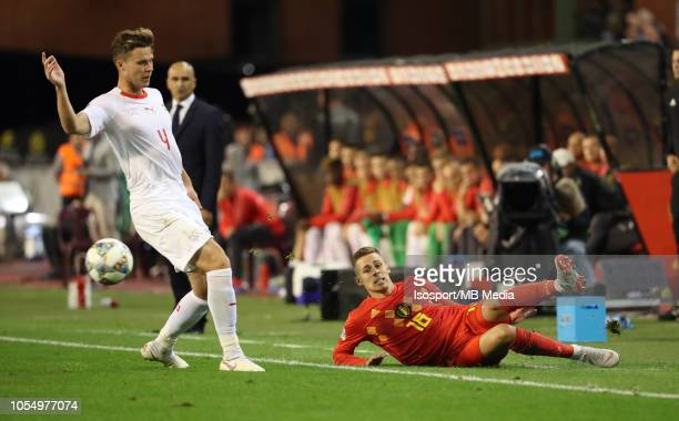 Nico Elvedi and Thorgan Hazard fight for the ball during the UEFA Nations League A group two match between Belgium and Switzerland at King Baudouin...