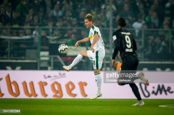 Nico Elvedi in action during the Bundesliga match between Borussia Moenchengladbach and Eintracht Frankfurt at Borussia-Park on September 26, 2018 in...