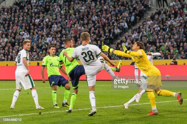 Nico Elvedi of Borussia Mönchengladbach Asessandro Schöpf of FC Schalke 04 sc27 Matthias Ginter of Borussia Mönchengladbach Fabian Johnson of...