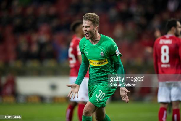 Nico Elvedi of Borussia Moenchengladbach celebrate after he score his teams first goal the Bundesliga match between 1 FSV Mainz 05 and Borussia...