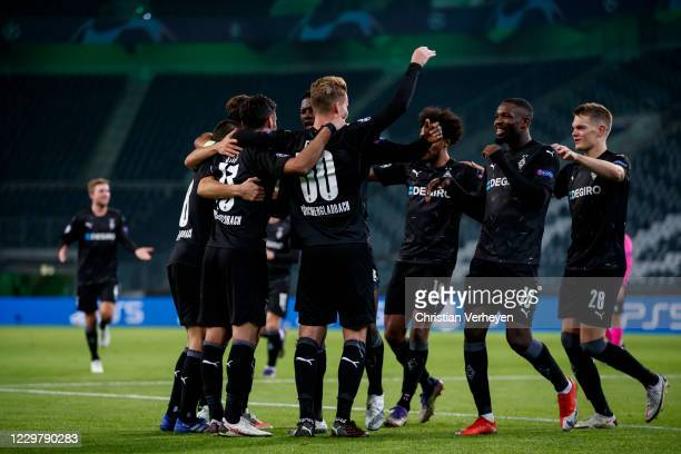 Nico Elvedi of Borussia Moenchengladbach celebrate with his teammates after he score his teams second goal during the Group B UEFA Champions League...