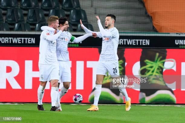 Nico Elvedi of Borussia Moenchengladbach celebrates after scoring his team's second goal during the Bundesliga match between Borussia...