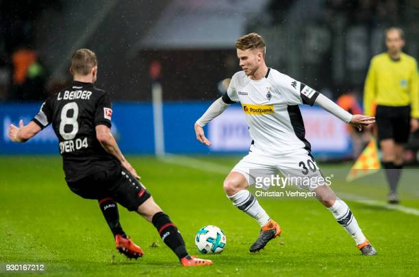 Nico Elvedi of Borussia Moenchengladbach controls the ball during the Bundesliga match between Bayer 04 Leverkusen and Borussia Moenchengladbach at...