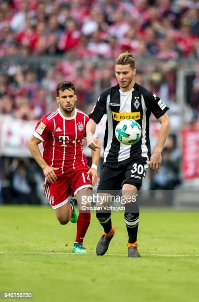 Nico Elvedi of Borussia Moenchengladbach controls the ball during the Bundesliga match between FC Bayern Muenchen and Borussia Moenchengladbach at...