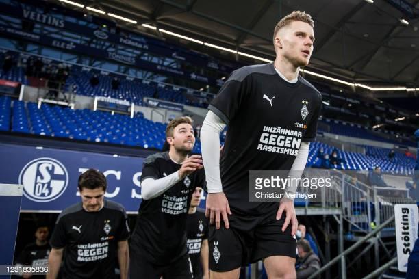 Nico Elvedi of Borussia Moenchengladbach is seen ahead the Bundesliga match between FC Schalke 04 and Borussia Moenchengladbach at Veltins-Arena on...
