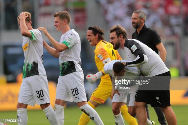 Nico Elvedi of Borussia Moenchengladbach, Matthias Ginter of Borussia Moenchengladbach, Goalkeeper Yann Sommer of Borussia Moenchengladbach, Laszlo...