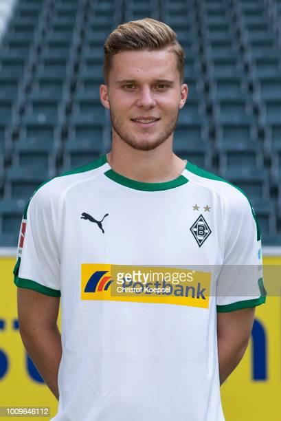 Nico Elvedi of Borussia Moenchengladbach poses during the team presentation at Borussia Park on August 2 2018 in Moenchengladbach Germany