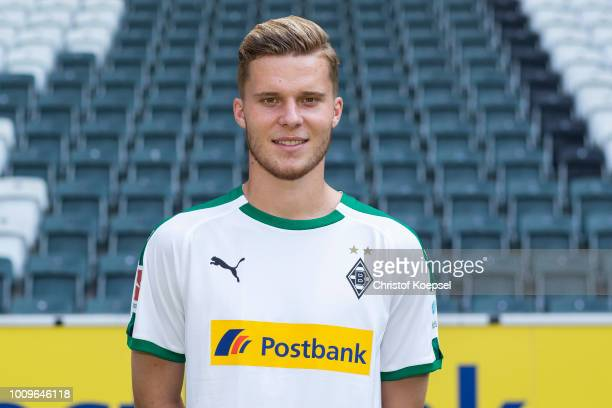 Nico Elvedi of Borussia Moenchengladbach poses during the team presentation at Borussia Park on August 2 2018 in Moenchengladbach Germany