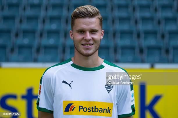 Nico Elvedi of Borussia Moenchengladbach poses during the Team Presentation of Borussia Moenchengladbach at BorussiaPark on August 02 2018 in...