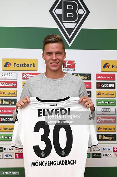 Nico Elvedi of Borussia Moenchengladbach poses with his shirt after signing a new contract for Borussia Moenchengladbach on June 24 2015 at Borussia...