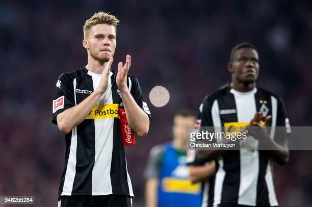 Nico Elvedi of Borussia Moenchengladbach react after the Bundesliga match between FC Bayern Muenchen and Borussia Moenchengladbach at Allianz Arena...