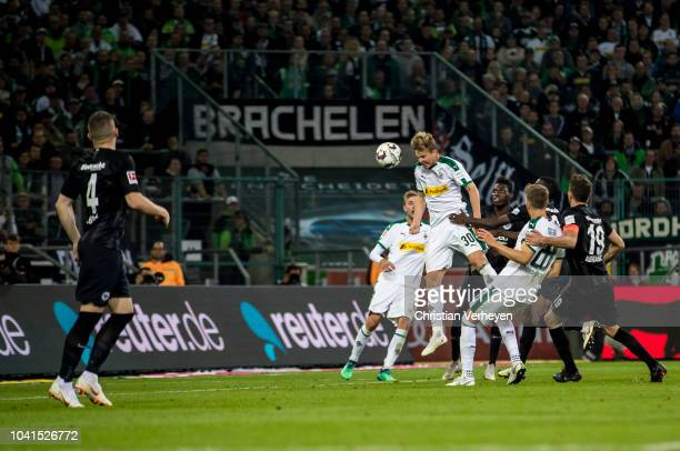 Nico Elvedi of Borussia Moenchengladbach scores his teams third during the Bundesliga match between Borussia Moenchengladbach and Eintracht Frankfurt...