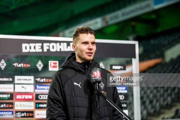 Nico Elvedi of Borussia Moenchengladbach talks to the media after the Bundesliga match between Borussia Moenchengladbach and SV Werder Bremen at...