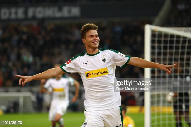 Nico Elvedi of Borussia Monchengladbach celebrates after scoring his team's third goal during the Bundesliga match between Borussia Moenchengladbach...
