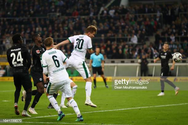 Nico Elvedi of Borussia Monchengladbach scores his team's third goal during the Bundesliga match between Borussia Moenchengladbach and Eintracht...
