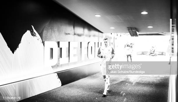 Nico Elvedi of Mönchengladbach is focused in the players tunnel during the Bundesliga match between Borussia Mönchengladbach and FC Augsburg at...