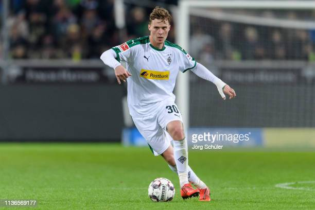 Nico Elvedi of Moenchengladbach controls the ball during the Bundesliga match between Borussia Moenchengladbach and SportClub Freiburg at...
