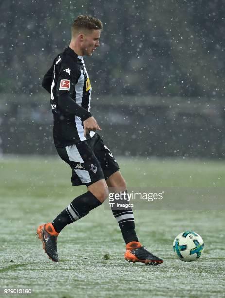 Nico Elvedi of Moenchengladbach controls the ball during the Bundesliga match between Borussia Moenchengladbach and Werder Bremen at BorussiaPark on...