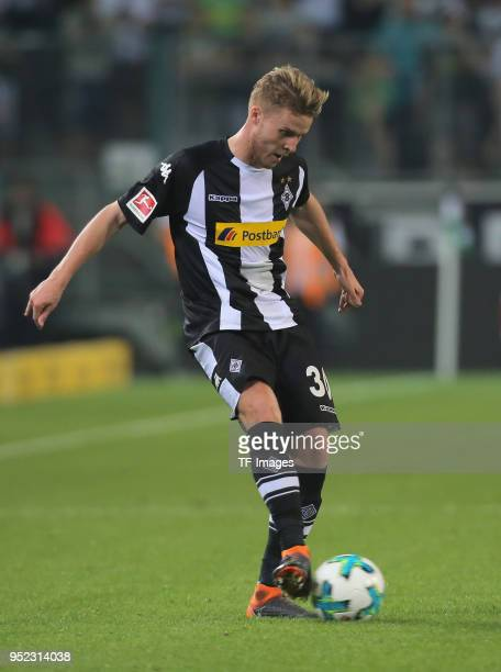 Nico Elvedi of Moenchengladbach controls the ball during the Bundesliga match between Borussia Moenchengladbach and VfL Wolfsburg at BorussiaPark on...