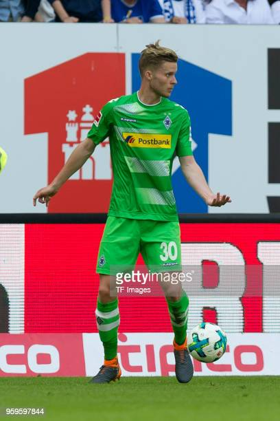 Nico Elvedi of Moenchengladbach controls the ball during the Bundesliga match between Hamburger SV and Borussia Moenchengladbach at Volksparkstadion...