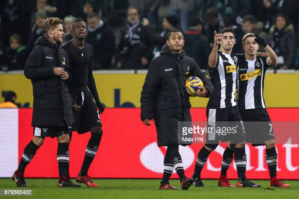 Nico Elvedi of Moenchengladbach Denis Zakaria Raffael Lars Stindl and Patrick Herrmann leave the pitch after the Bundesliga match between Borussia...