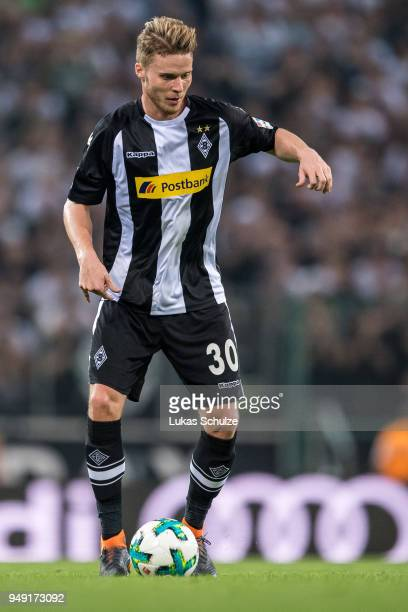 Nico Elvedi of Moenchengladbach in action during the Bundesliga match between Borussia Moenchengladbach and VfL Wolfsburg at BorussiaPark on April 20...