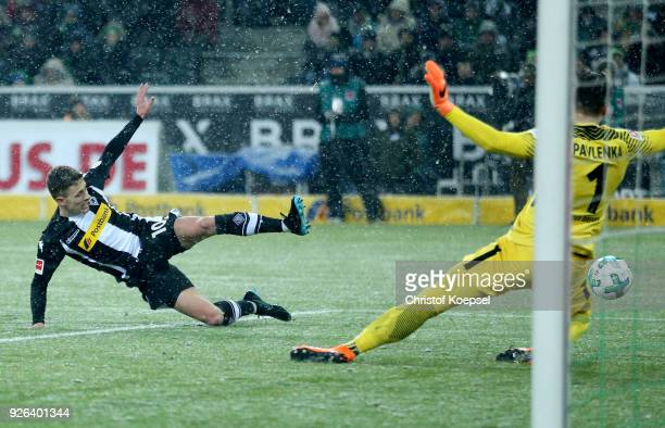 Nico Elvedi of Moenchengladbach misses the second goal against Jiri Pavlenka of Bremen during the Bundesliga match between Borussia Moenchengladbach...