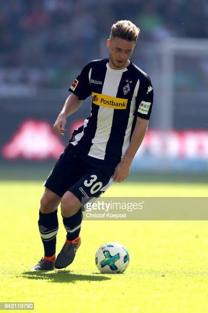 Nico Elvedi of Moenchengladbach runs with the ball during the Bundesliga match between Borussia Moenchengladbach and Hertha BSC at BorussiaPark on...