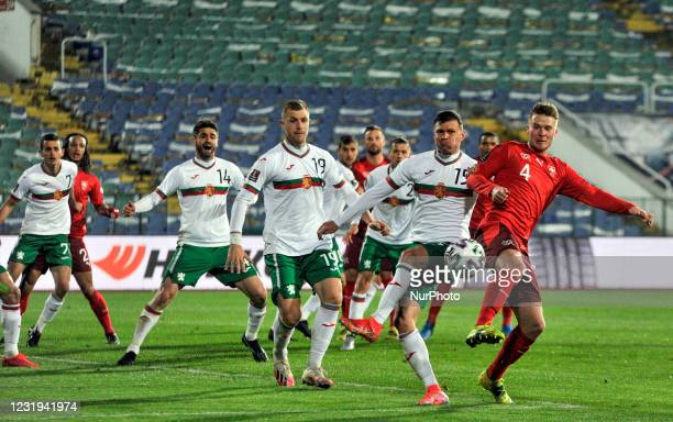 Nico Elvedi of Switzerland among four Bulgarian players during the FIFA World Cup 2022 Qatar qualifying match between Bulgaria and Switzerland at...