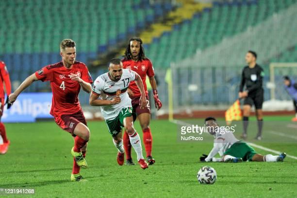 Nico Elvedi of Switzerland and Georgi Yomov of Bulgaria chasing the ball during the FIFA World Cup 2022 Qatar qualifying match between Bulgaria and...