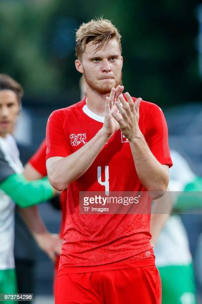 Nico Elvedi of Switzerland gestures during the international friendly match between Switzerland and Japan at the Stadium Cornaredo on June 8 2018 in...