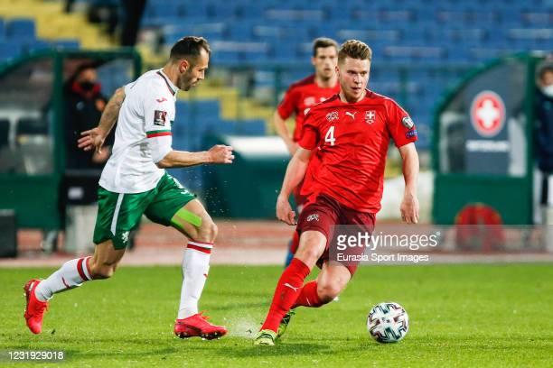 Nico Elvedi of Switzerland in action during the FIFA World Cup 2022 Qatar qualifying match between Bulgaria and Switzerland at Vasil Levski National...