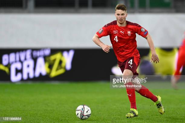 Nico Elvedi of Switzerland in action during the FIFA World Cup 2022 Qatar qualifying match between Switzerland and Lithuania at Kybunpark on March...