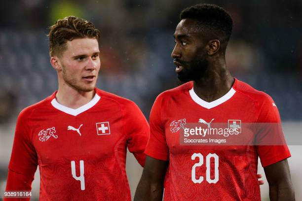 Nico Elvedi of Switzerland Johan Djourou of Switzerland during the International Friendly match between Switzerland v Panama at the Luzern Arena on...