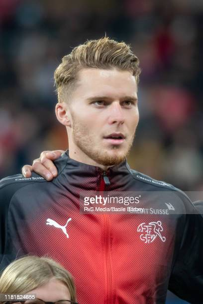 Nico Elvedi of Switzerland looks on during the Swiss national anthem prior to the UEFA Euro 2020 qualifier between Switzerland and Republic of...