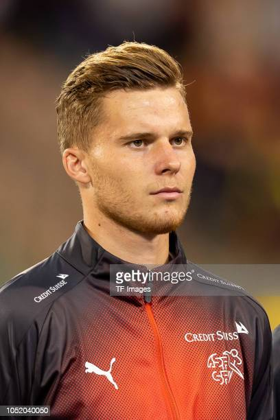 Nico Elvedi of Switzerland looks on prior to the UEFA Nations League A group two match between Belgium and Switzerland at Roi Baudouin Stadion on...