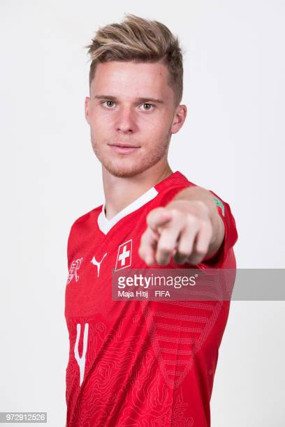 Nico Elvedi of Switzerland poses for a portrait during the official FIFA World Cup 2018 portrait session at the Lada Resort on June 12 2018 in Samara...