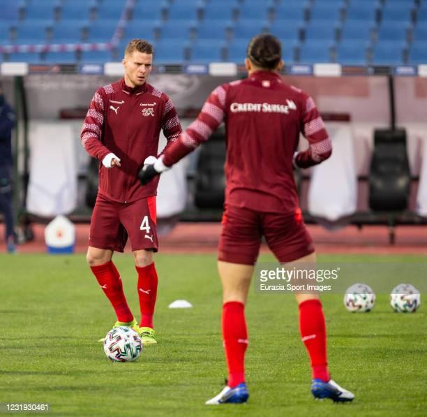 Nico Elvedi of Switzerland warming up during the FIFA World Cup 2022 Qatar qualifying match between Bulgaria and Switzerland at Vasil Levski National...