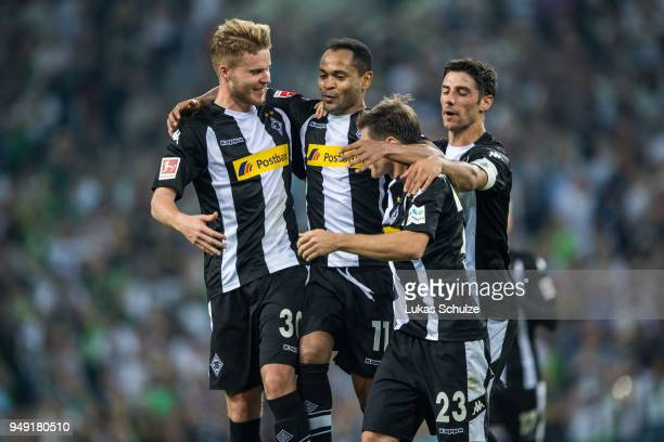 Nico Elvedi Raffael Jonas Hofmann and Lars Stindl of Moenchengladbach celebrate a goal during the Bundesliga match between Borussia Moenchengladbach...