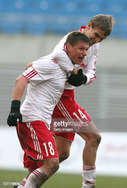 Nico Frommer of Leipzig celebrates his goal with team mateDaniel Rosin during the Regionalliga match between RB Leipzig and Chemnitzer FC at the Red...
