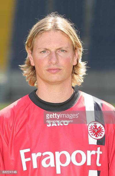 Nico Frommer poses during the team presentation of Eintracht Frankfurt for the Bundesliga season 2005 2006 on July 11 2005 in Frankfurt Germany