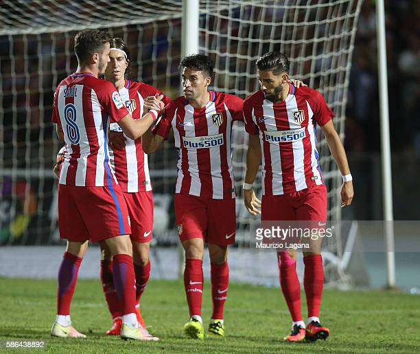Nico Gaitan of Atletico de Madrid celebrates after scoring the opening goal during a preseason friendly match between FC Crotone and Club Atletico de...
