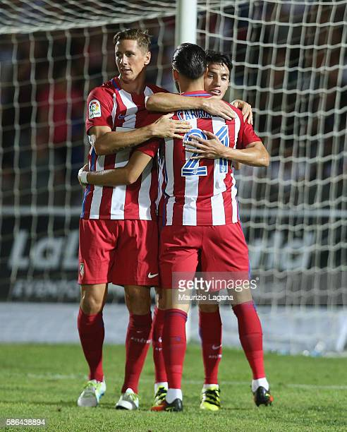 Nico Gaitan of Atletico de Madrid celebrates his team's opening goal during a preseason friendly match between FC Crotone and Club Atletico de Madrid...