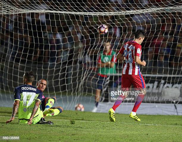 Nico Gaitan of Atletico de Madrid score his team's opening goal during a preseason friendly match between FC Crotone and Club Atletico de Madrid at...