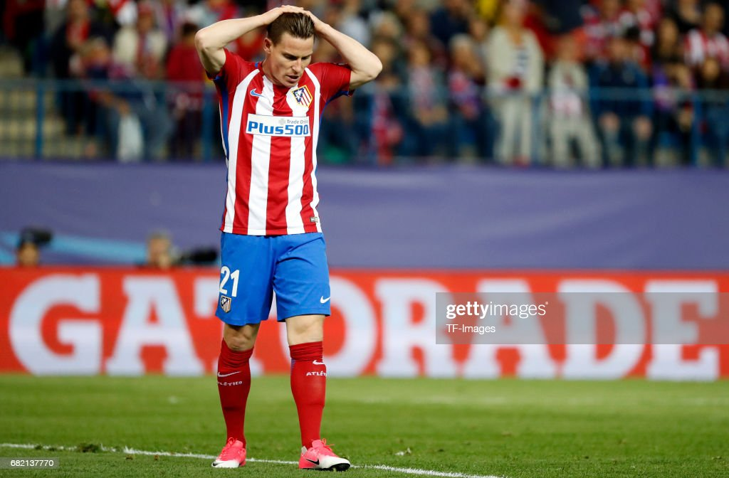 Nico Gaitan of Atletico Madrid gestures during the UEFA Champions League Semi Final second leg match between Club Atletico de Madrid and Real Madrid CF at Vicente Calderon Stadium on May 10, 2017 in Madrid, Spain.