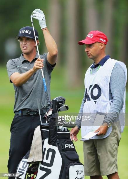 Nico Geyger of Chile prepares to play his second shot on the 4th hole during the second round of the Belgian Knockout at at the Rinkven International...