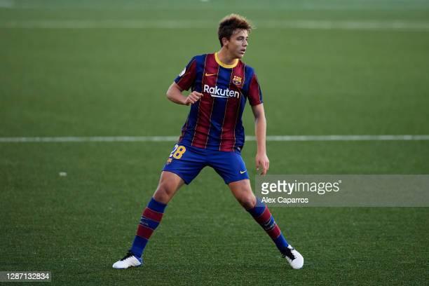 Nico Gonzalez of FC Barcelona B runs during the Segunda Division B Group IIIA match between CE L'Hospitalet and FC Barcelona B at Estadi Municipal de...
