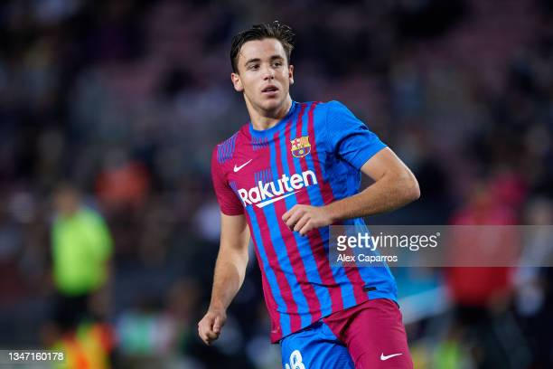 Nico Gonzalez of FC Barcelona looks on during the LaLiga Santander match between FC Barcelona and Valencia CF at Camp Nou on October 17, 2021 in...