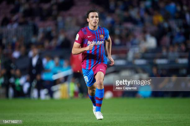 Nico Gonzalez of FC Barcelona runs during the LaLiga Santander match between FC Barcelona and Valencia CF at Camp Nou on October 17, 2021 in...