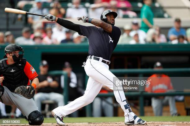 Nico Goodrum of the Detroit Tigers hits a two run homer during the second inning of the Spring Training game against the Miami Marlins at Joker...